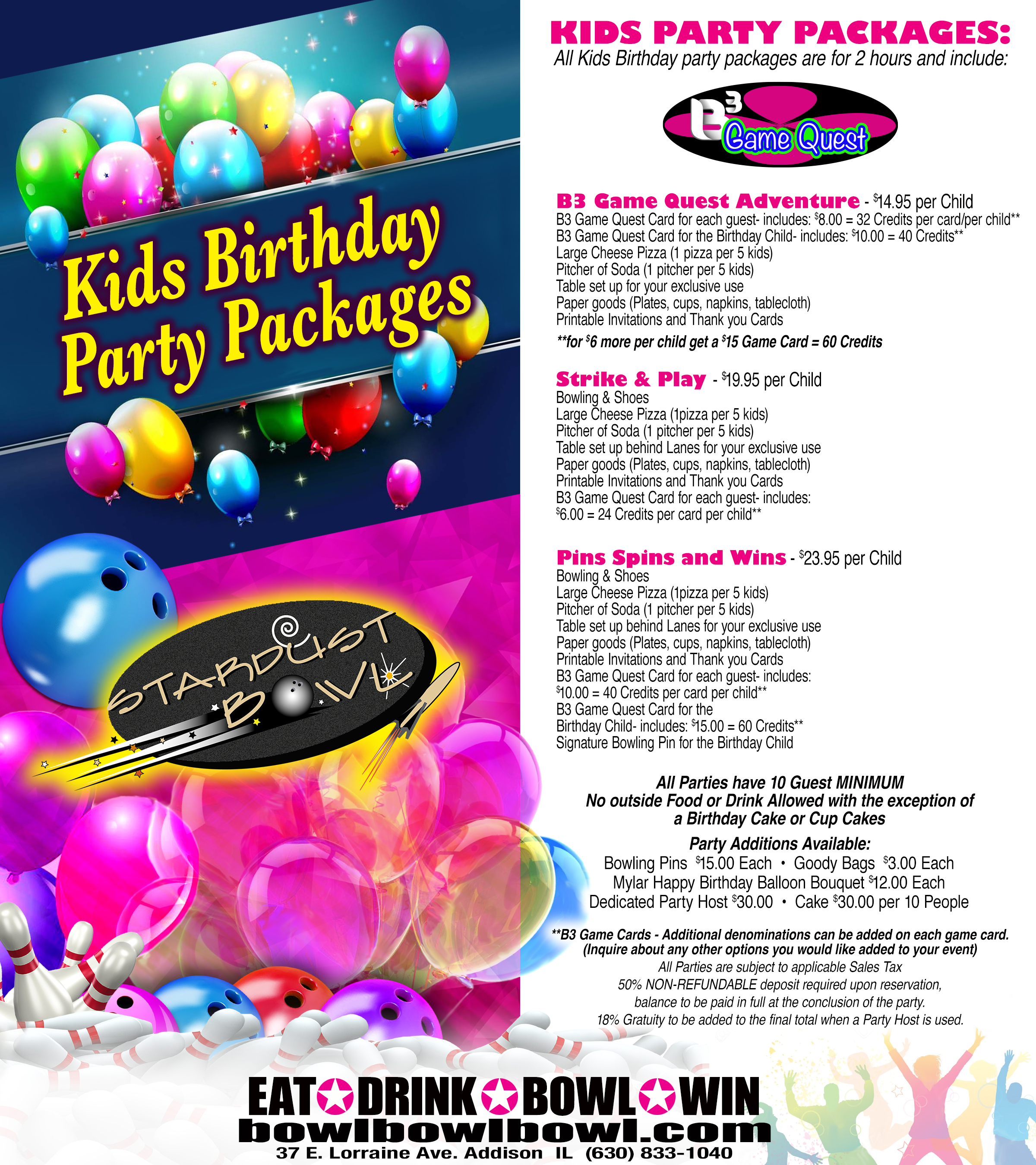 Kids Birthday Parties | Stardust Bowl | Bowling Parties in Addison, IL